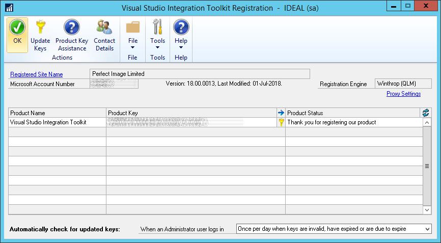 Visual Studio Integrating Toolkit Registration