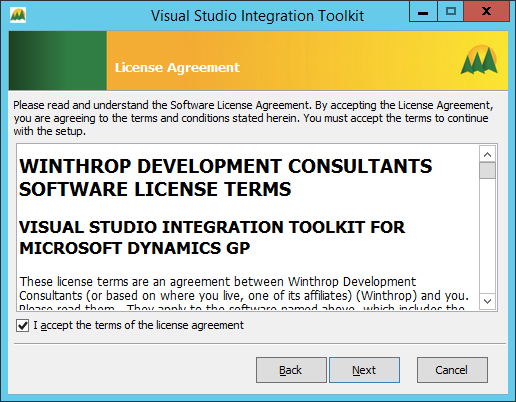 Visual Studio Integration Tookit - License Agreement