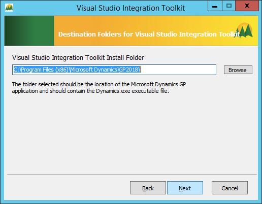 Visual Studio Integration Tookit - Destination Folder for Visual Studio Integration Toolkit