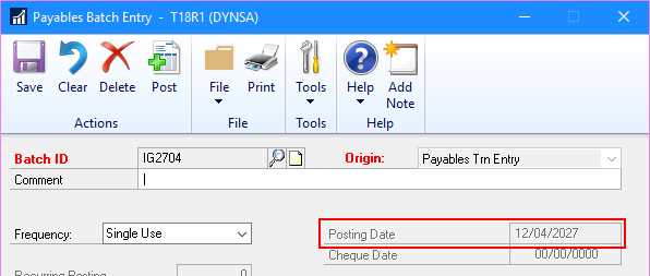 Payables Batch Entry with Posting Date disabled