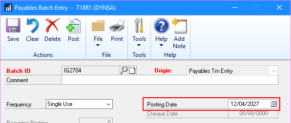 Payables Batch Entry with Posting Date enabled