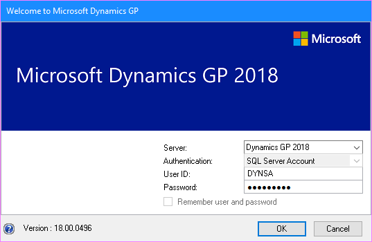 Microsoft Dynamics GP Log In