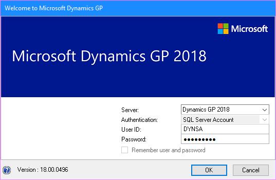 Microsoft Dynamics GP Log In