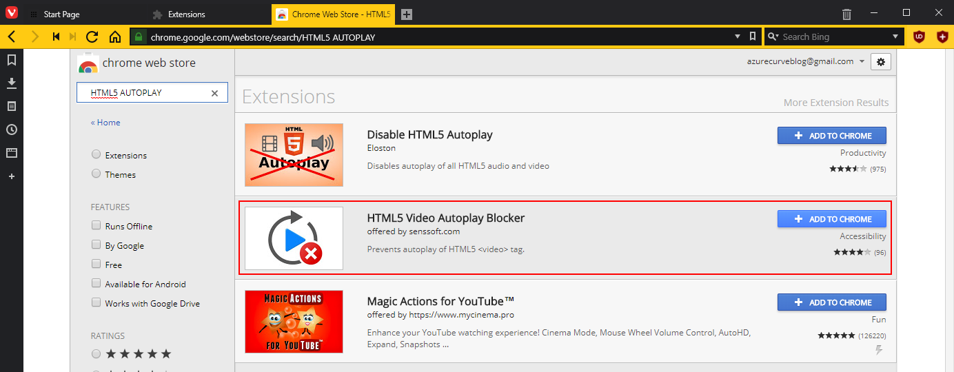 Search for HTML5 autoplay