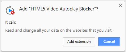 Add HTML5 Video Autoplay blocker