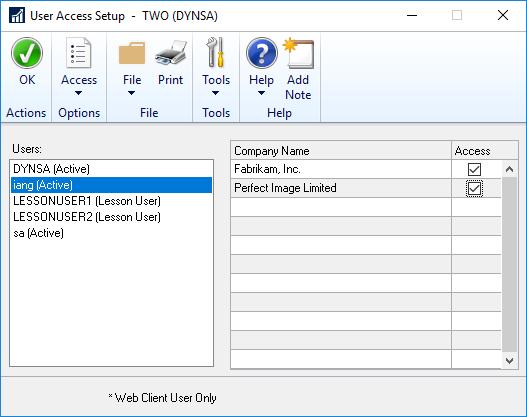 User Access Setup