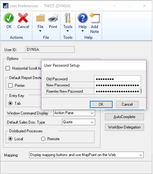 User Password Setup
