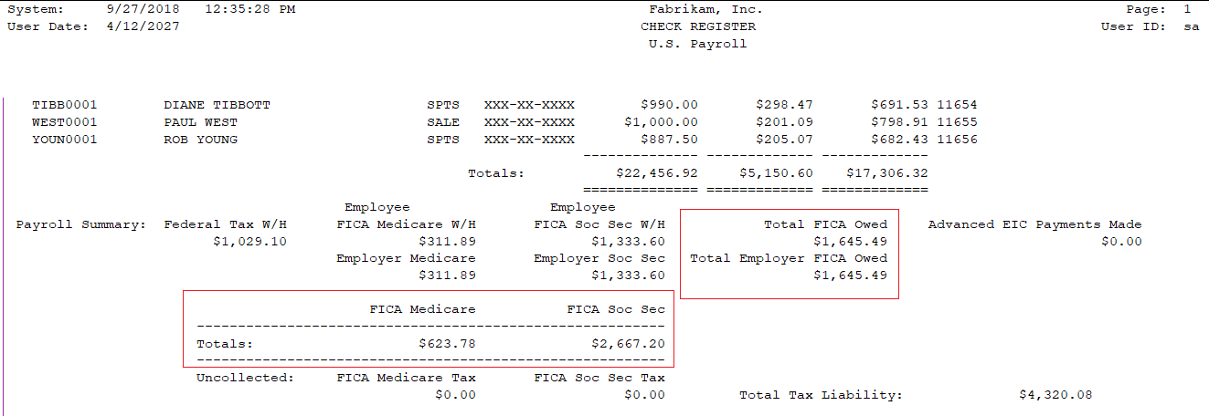 Payroll Check Register report for FICA