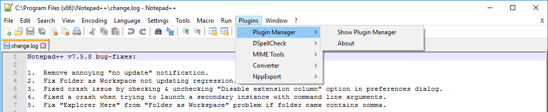 Notepad++ with Plugin Manager available
