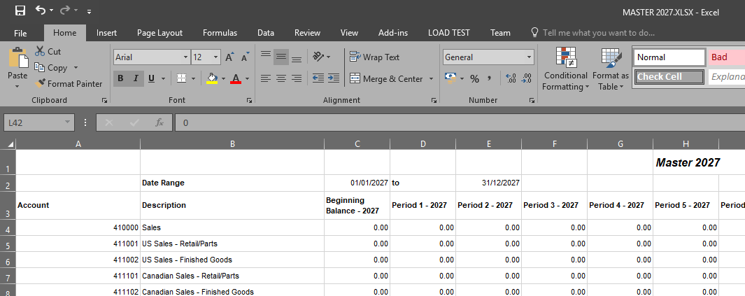 Microsoft Excel with unformatted data