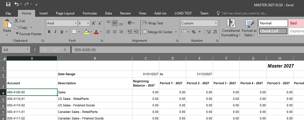 Excel with data fully reformatted