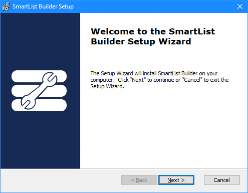 Welcome to the SmartList Builder Setup Wizard