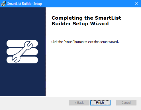 Completing the SmartList Builder Setup Wizard