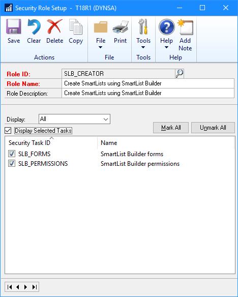 Security Role Setup
