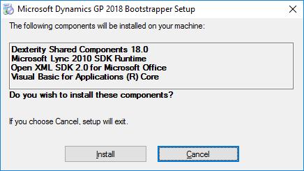Microsoft Dynamics GP 2018 Bootstrapper Setup
