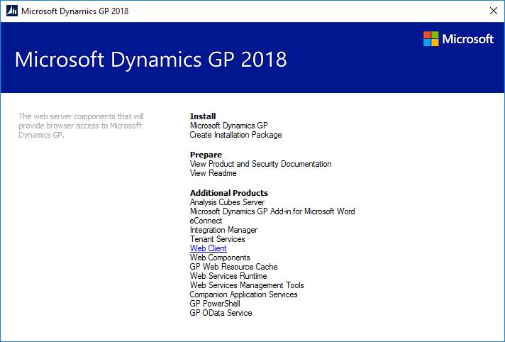 Dynamics GP 2018 R2 setup utility