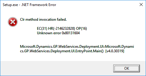 Error launching Web Services installer