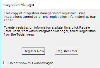 Integration Manager - Run Now