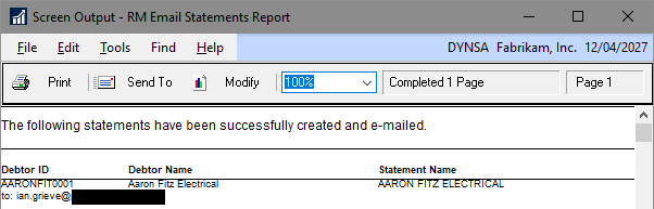 Screen Output - RM Email Statement Report