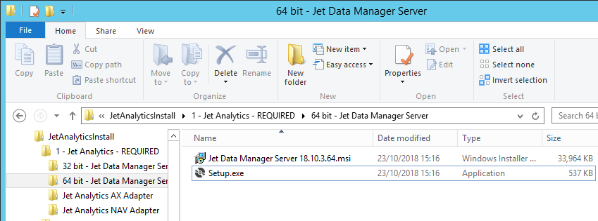Windows Explorer showing extracted Jet Analytics folder