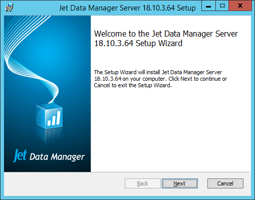 Jet Data Manager Server Setup - Welcome