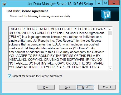 Jet Data Manager Server Setup - End-User License Agreement