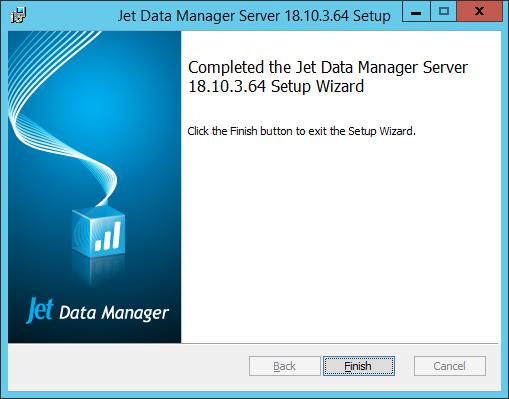 Jet Data Manager Server Setup - Completed the Jet Data Manager Server Setup Wizard