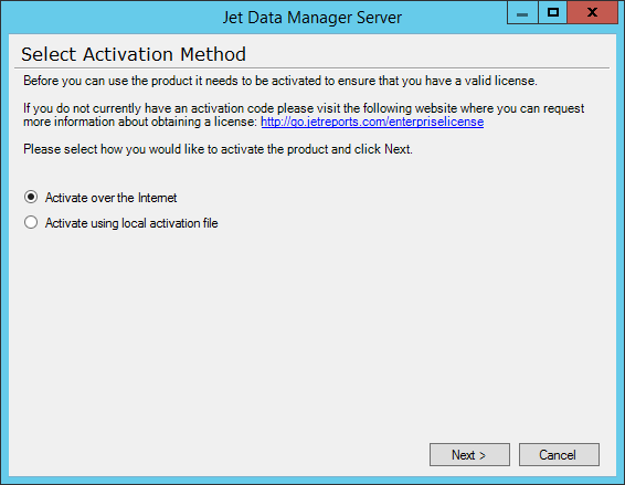 Jet Data Manager Server - Select Activation Method