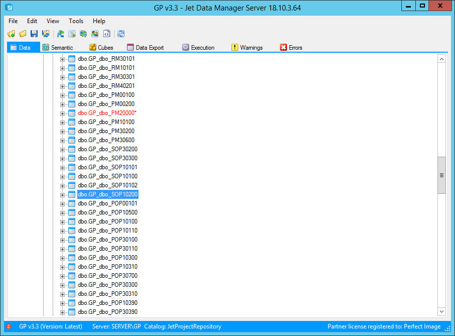Jet Data Manager Server with project loaded