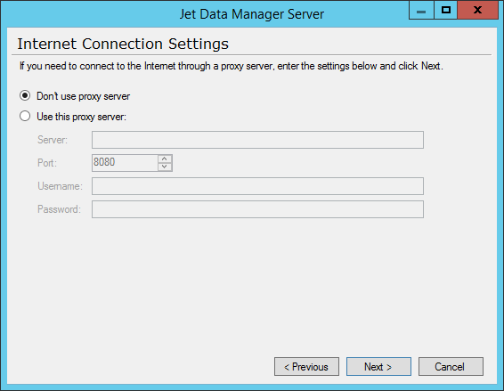 Jet Data Manager Server - Internet Connection Settings