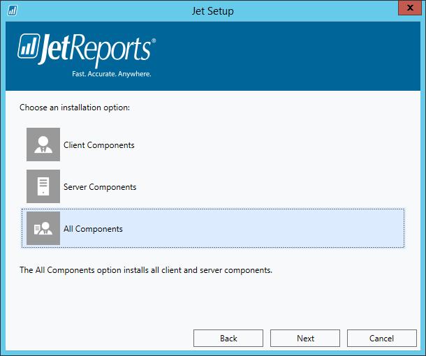 Jet Setup - Choose an installation option