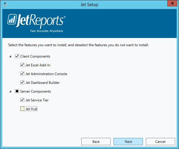 Jet Setup - Select Features