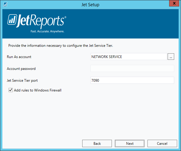 Jet Setup - Jet Service Tier details