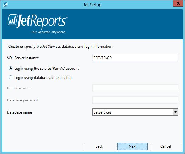 Jet Setup - Jet Services database and login information