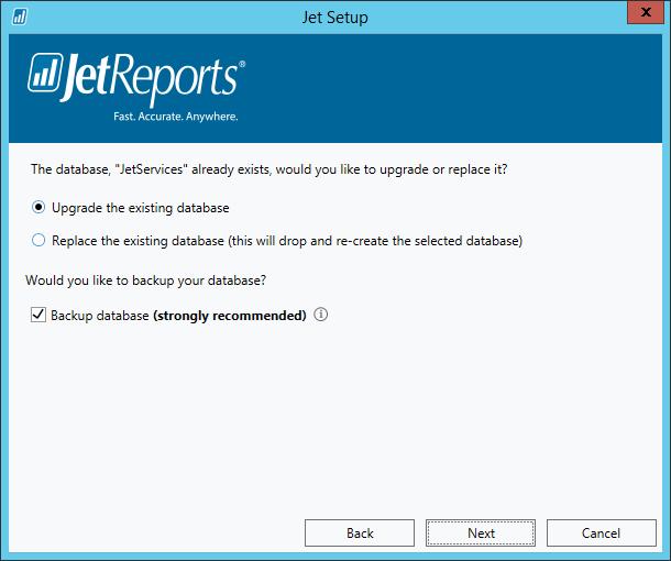 Jet Setup - Upgrade database?
