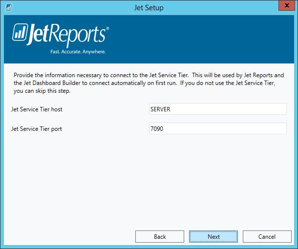 Jet Setup - Jet Service Tier information