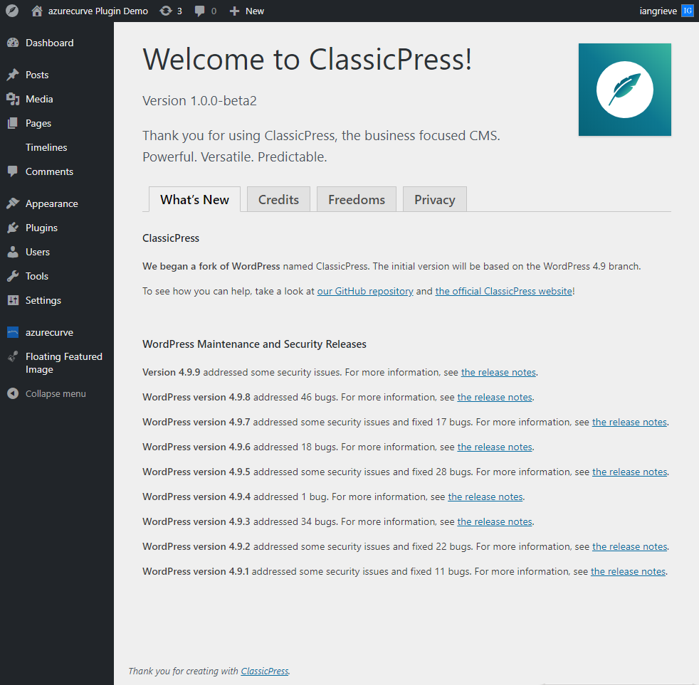 ClassicPress 1.0.0.Beta2 upgrade finished