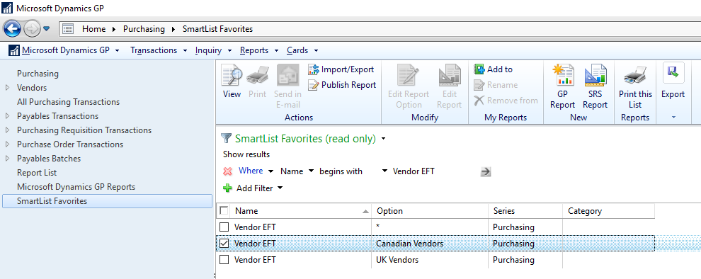 SmartList Favorites navigation list - Vendor EFT