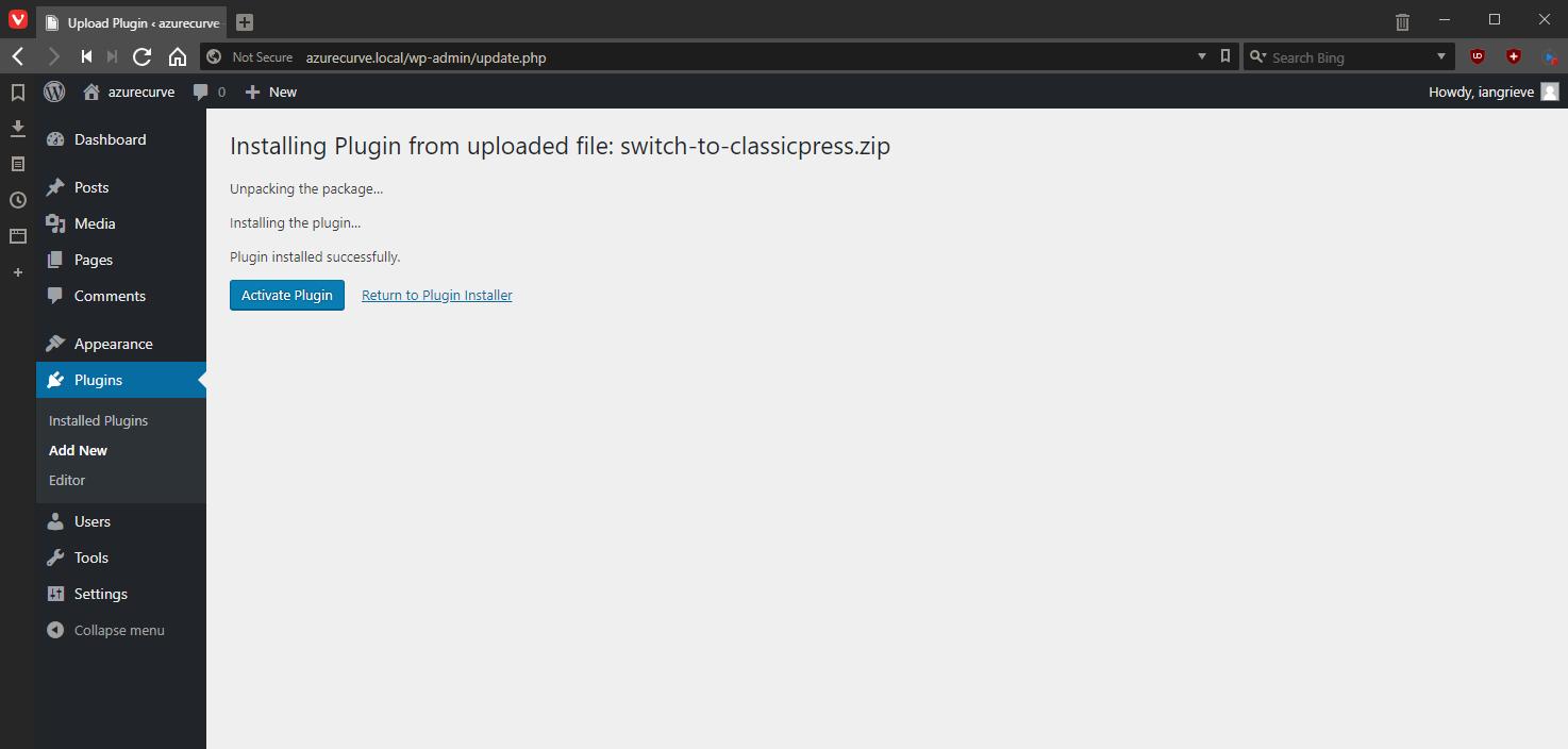 Activate ClassicPress migration plugin
