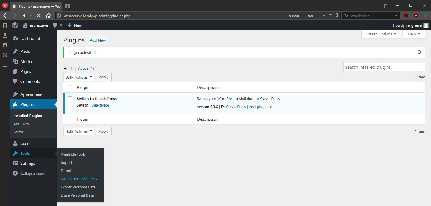 Migration Plugin on Tools menu - Switch to ClassicPress