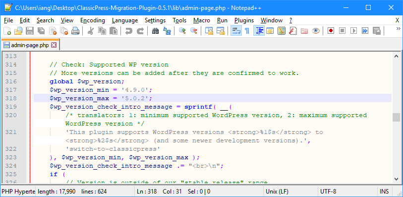 admin-page.php showing line 318