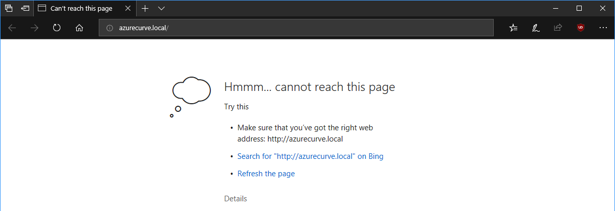 Microsoft Edge cannot reach this page
