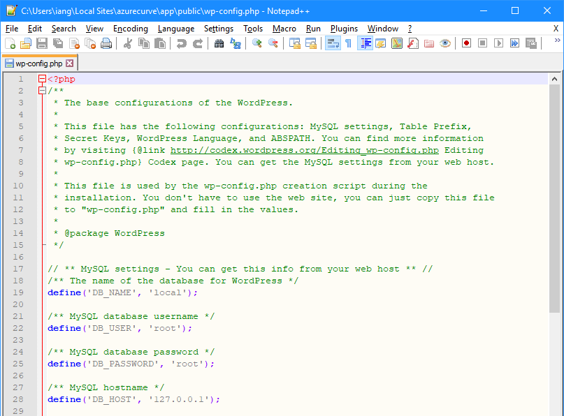 Notepad++ showing the updated wp.config file