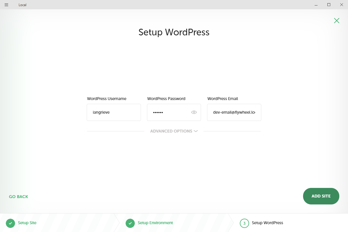 Setup WordPress stage