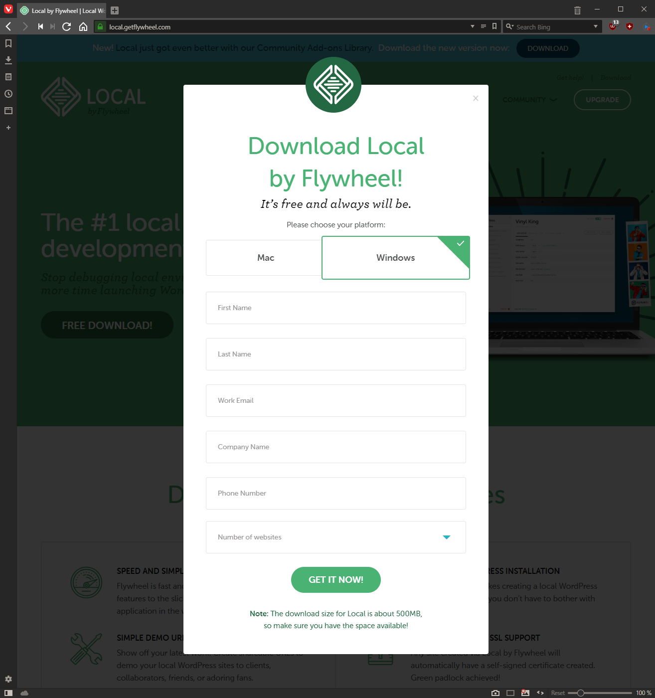Download Local by Flywheel by selecting your OS and entering your details