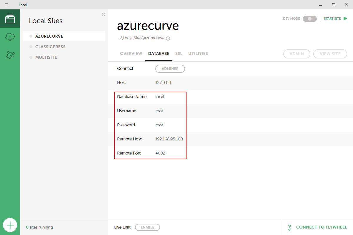 azurecurve Database page