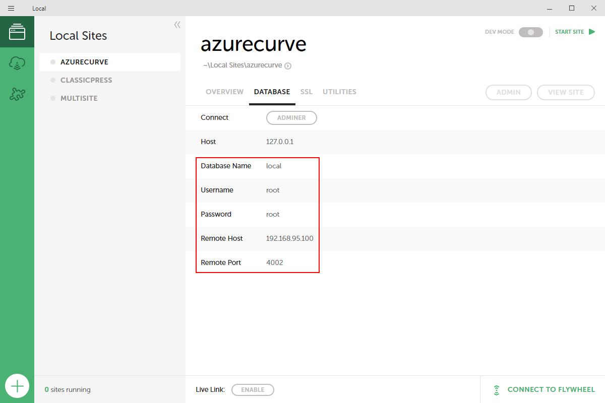 azurecurve Database page