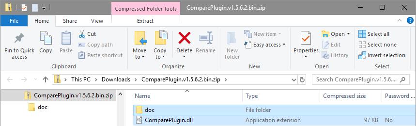 Compare plugin zip