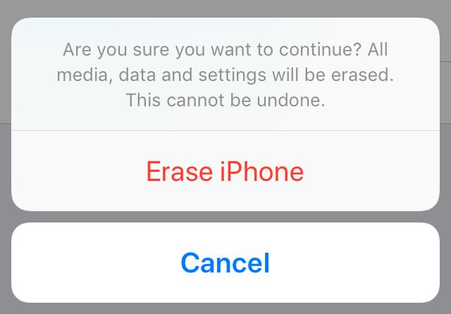 Erase iPhone confirmation