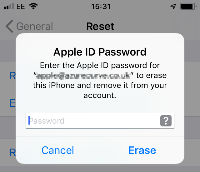 Enter Apple ID password to confirm erasing and removal